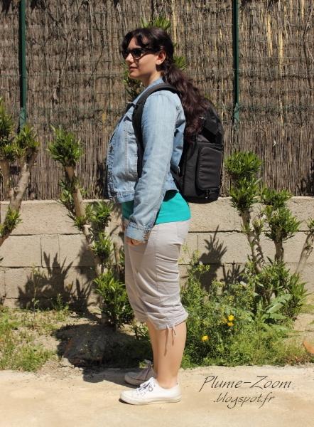 Marie (1m60) avec le fastpack 150 sur le dos